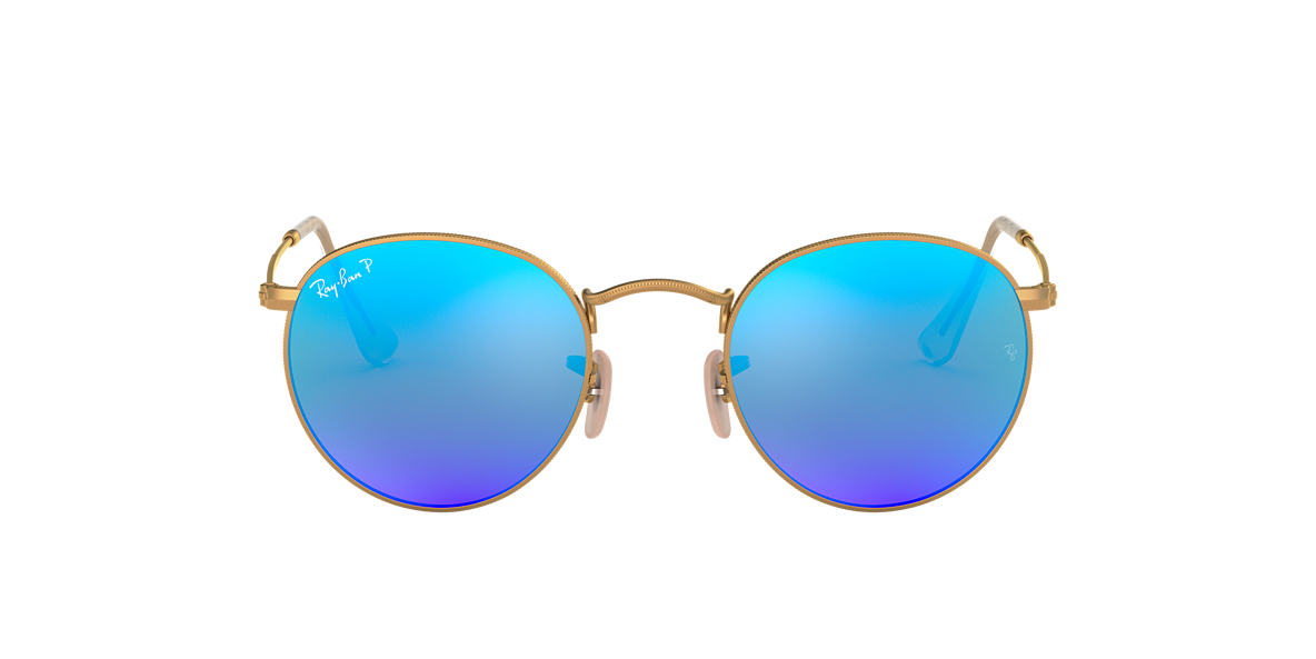 ray ban sunglasses outlet in doha  ray ban rb3447 50 round metal 50 blue & gold matte polarized sunglasses