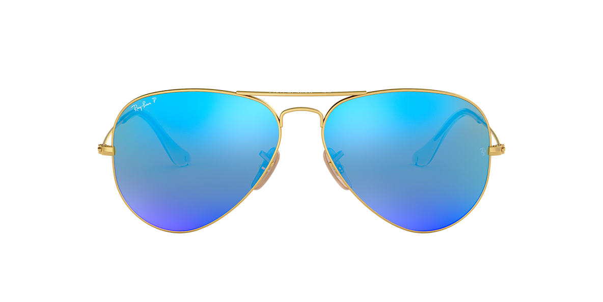 RAY-BAN Gold RB3025 Blue polarised lenses 58mm