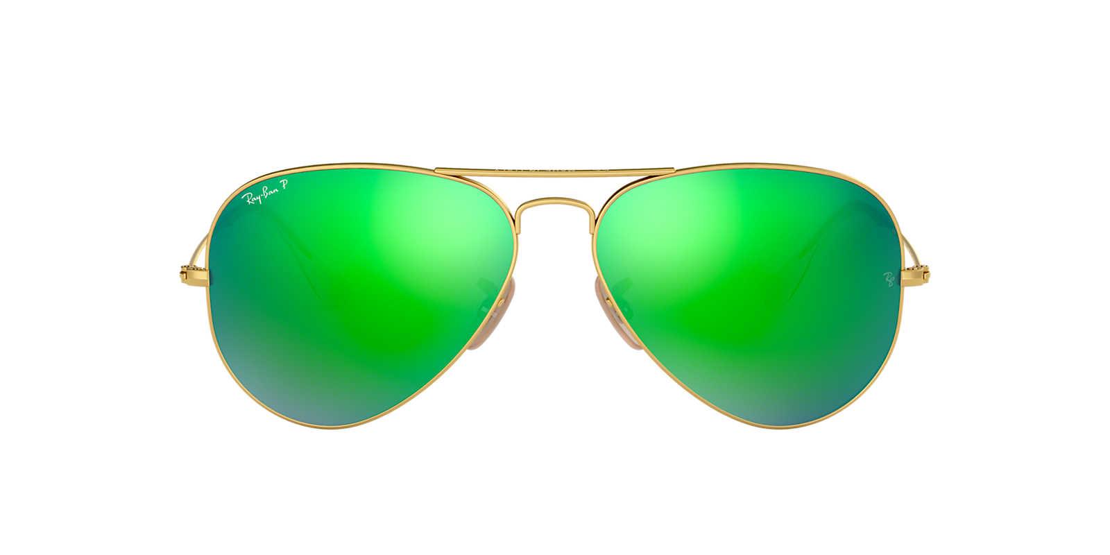 ray ban matte gold aviator  Ray-Ban RB3025 58 ORIGINAL AVIATOR 58 Green \u0026 Gold Matte Polarized ...