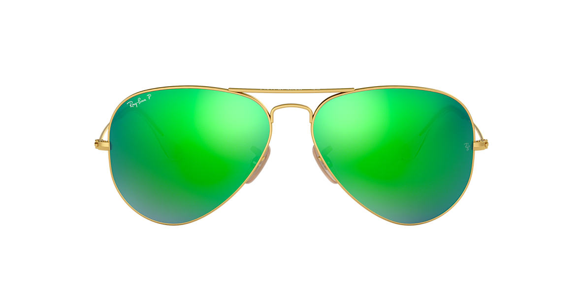 RAY-BAN Gold RB3025 58 ORIGINAL AVIATOR Green polarised lenses 58mm