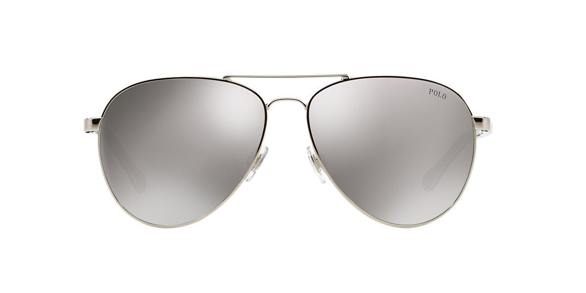 POLO RALPH LAUREN Silver Shiny PH3090 59 Grey lenses 59mm