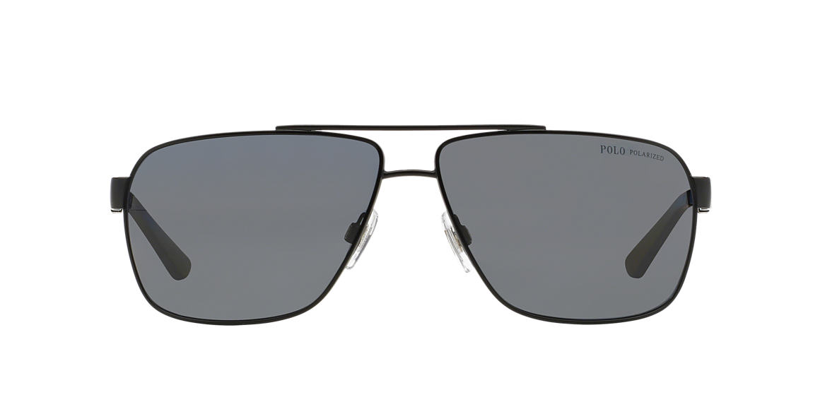 POLO RALPH LAUREN Black Matte PH3088 65 Grey polarized lenses 65mm