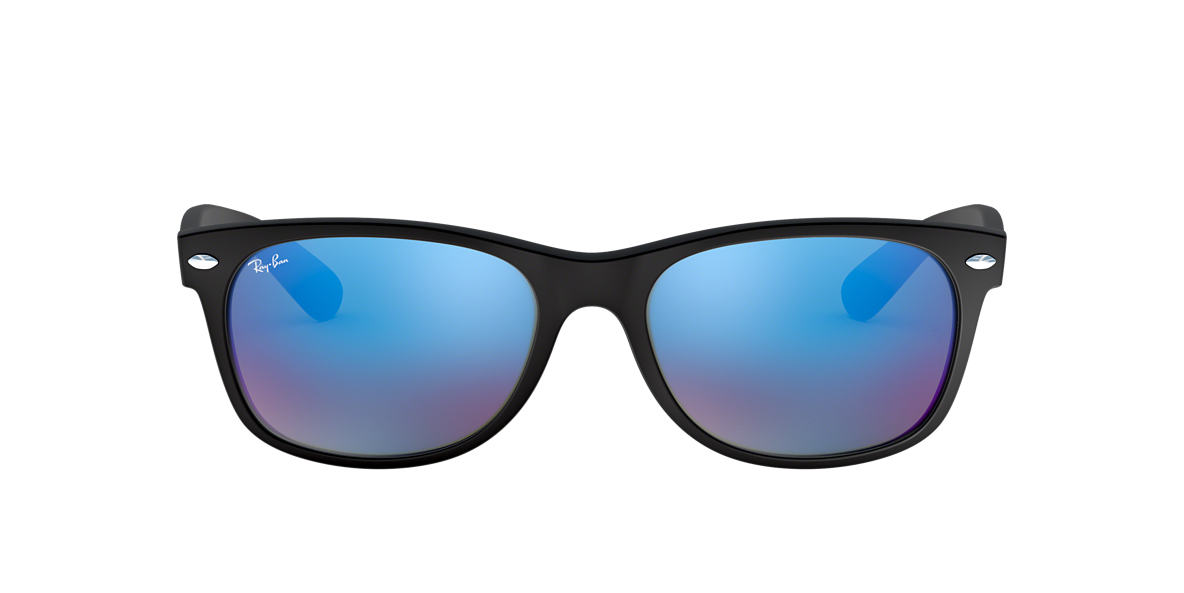 RAY-BAN Black Matte RB2132 52 NEW WAYFARER Blue lenses 52mm
