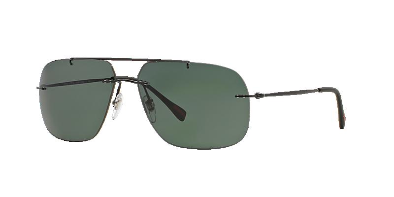 Prada Linea Rossa Ps 55ps 60 Black Rectangle Sunglasses