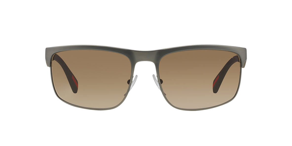 PRADA LINEA ROSSA Gunmetal PS 56PS 60 Brown lenses 60mm