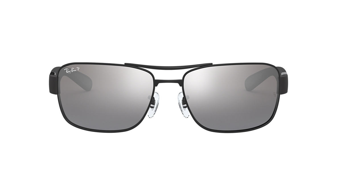 RAY-BAN Black Matte RB3522 61 Silver polarized lenses 61mm