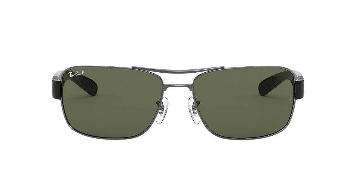RAY-BAN Gunmetal RB3522 64 Green polarised lenses 64mm