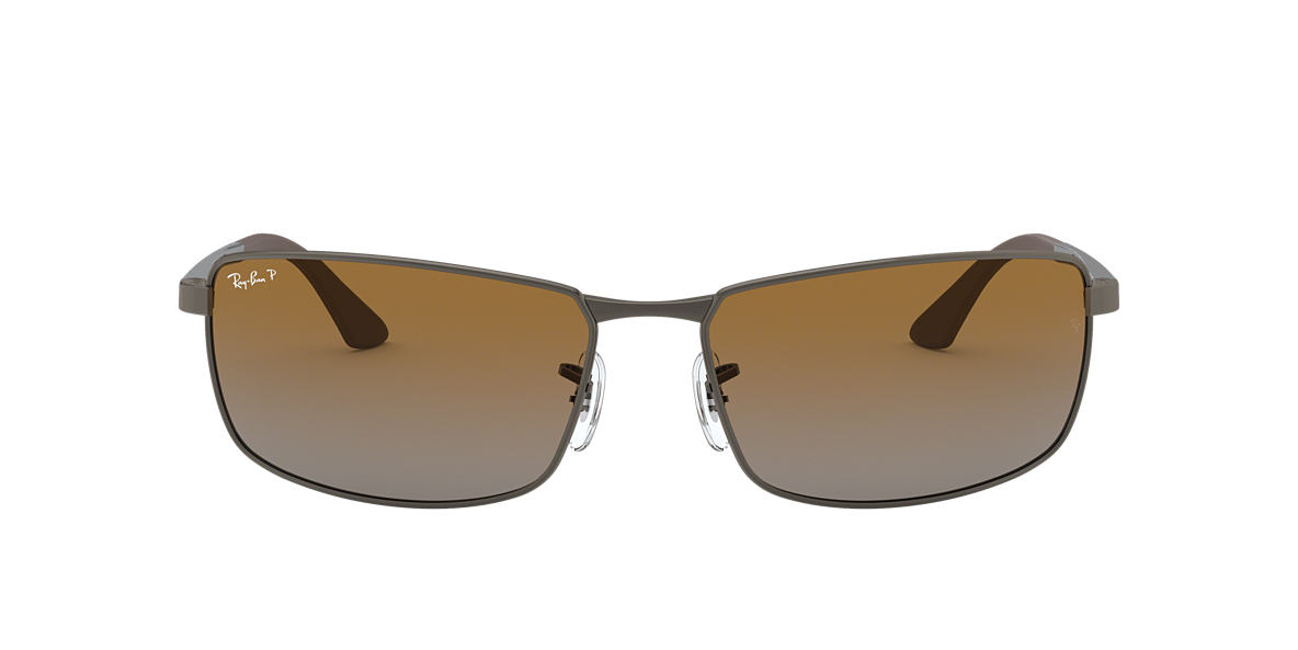 RAY-BAN Silver RB3498 Brown polarised lenses 61mm