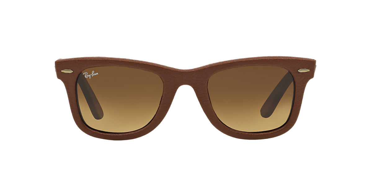 RAY-BAN Brown RB2140QM 50 WAYFARER LEATHER Brown lenses 50mm