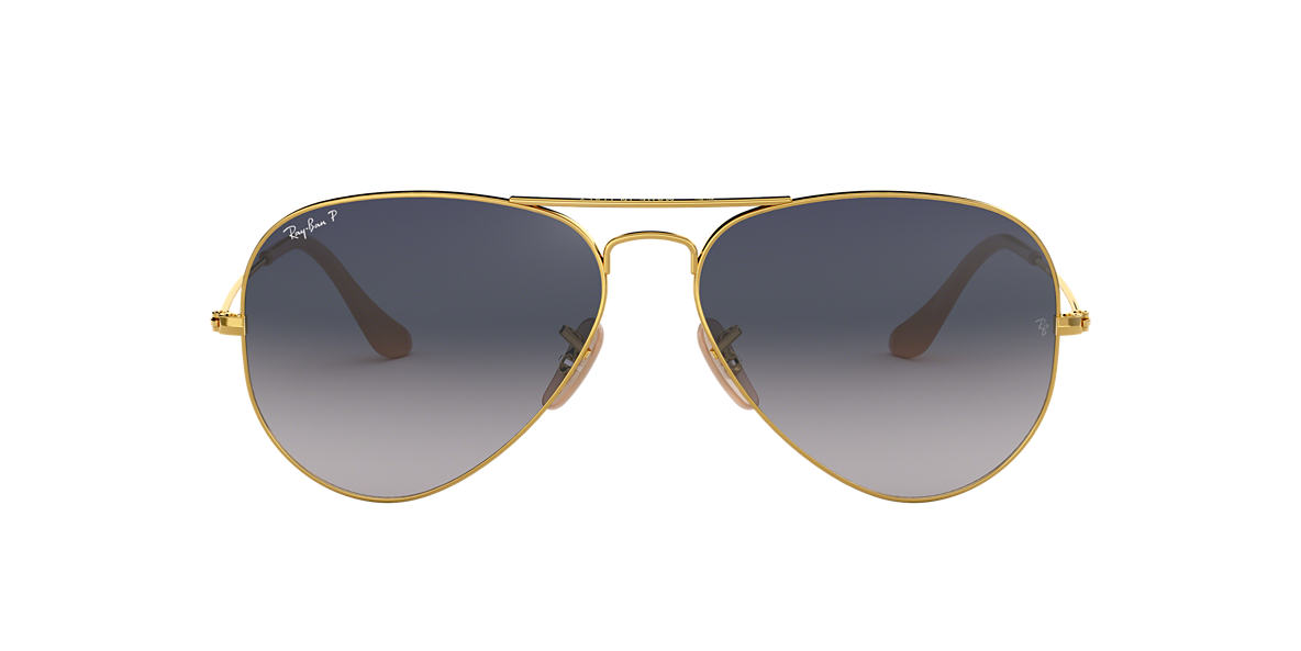 RAY-BAN Gold RB3025 58 ORIGINAL AVIATOR Blue polarized lenses 58mm