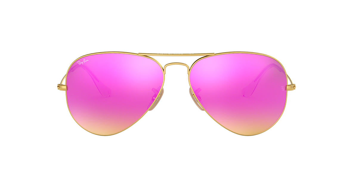 RAY-BAN Gold Matte RB3025 58 ORIGINAL AVIATOR Pink lenses 58mm