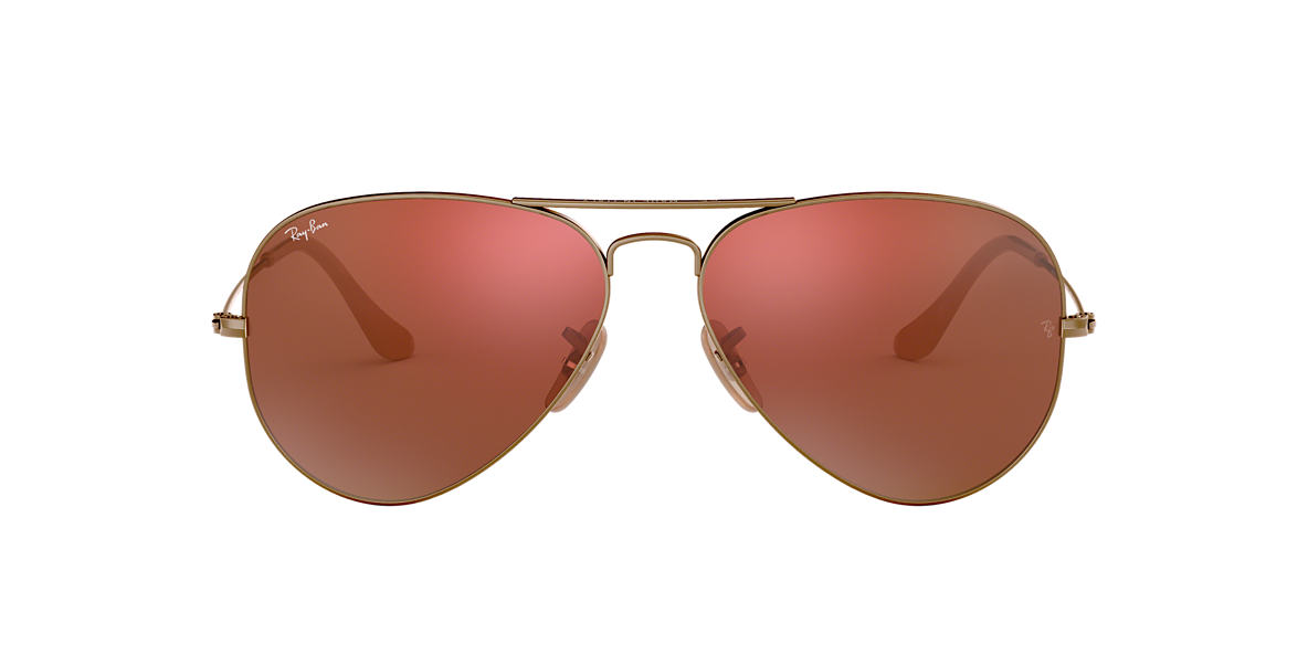 RAY-BAN Bronze Matte RB3025 58 ORIGINAL AVIATOR Red lenses 58mm