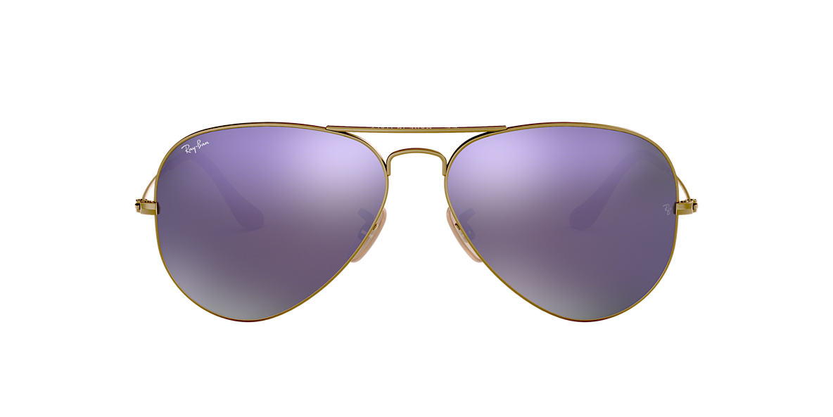 RAY-BAN Bronze Matte RB3025 58 ORIGINAL AVIATOR Purple lenses 58mm