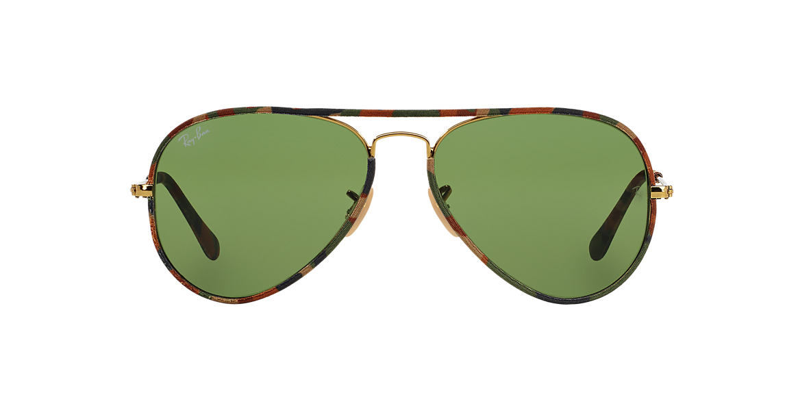 RAY-BAN Gold RB3025JM 58 AVIATOR FULL COLOR Green lenses 58mm