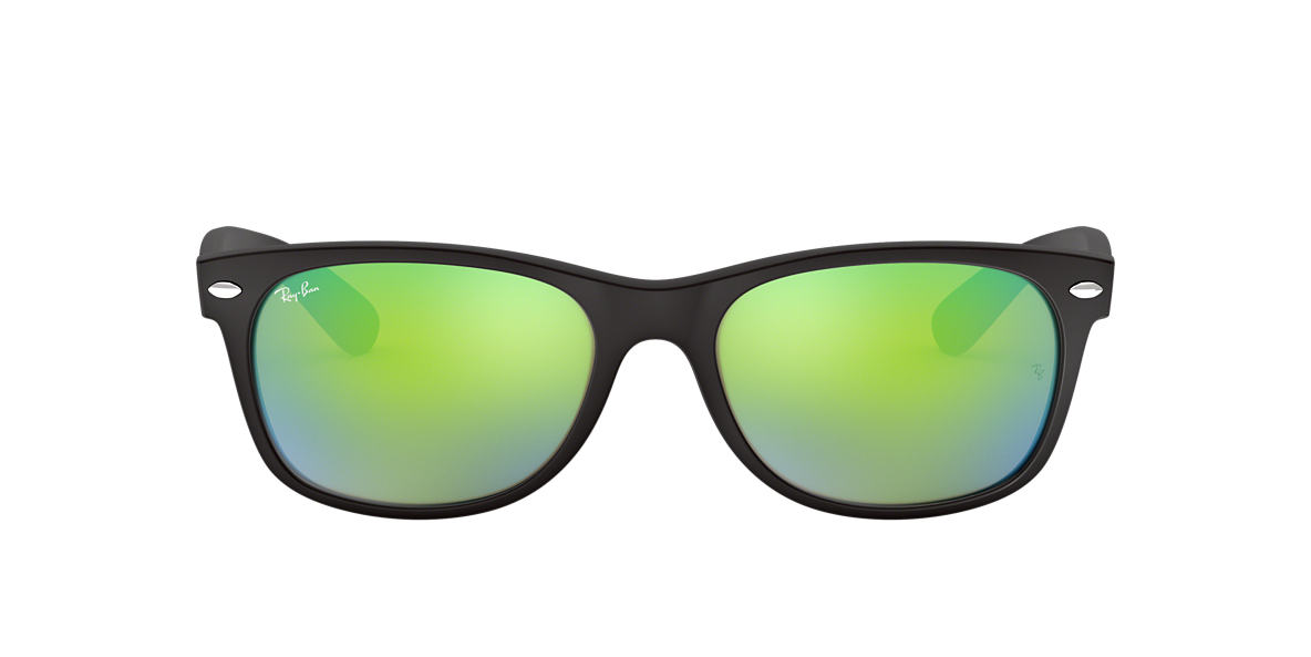 RAY-BAN Black Matte RB2132 52 NEW WAYFARER Green lenses 52mm