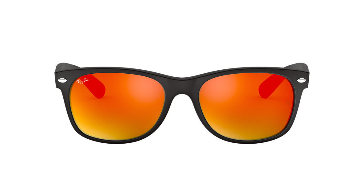 RAY-BAN Black Matte RB2132 52 NEW WAYFARER Orange lenses 52mm