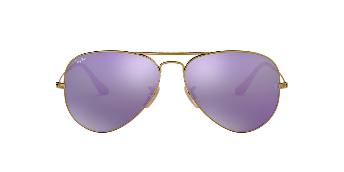 RAY-BAN Bronze Matte RB3025 55 ORIGINAL AVIATOR Purple lenses 55mm