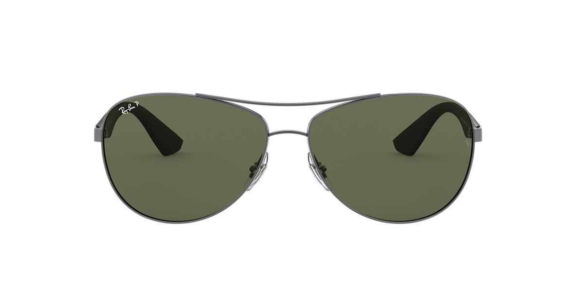 RAY-BAN Gunmetal Matte RB3526 63 Green polarized lenses 63mm