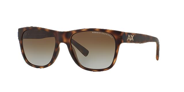 Image of Armani Exchange Tortoise Matte Square Sunglasses - ax4008