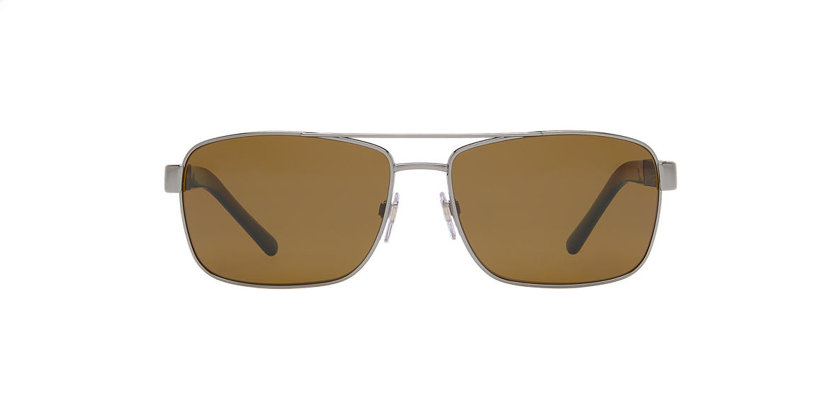 BURBERRY Gunmetal BE3081 63 Brown polarized lenses 63mm