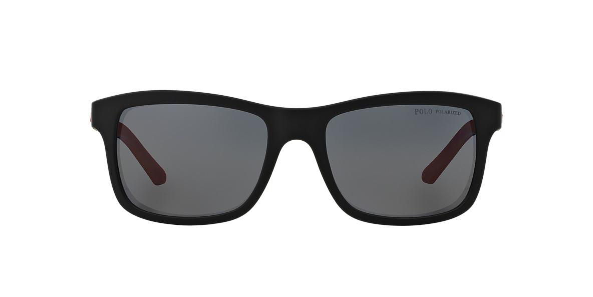 POLO RALPH LAUREN Black Matte PH4095 57 Grey polarized lenses 57mm