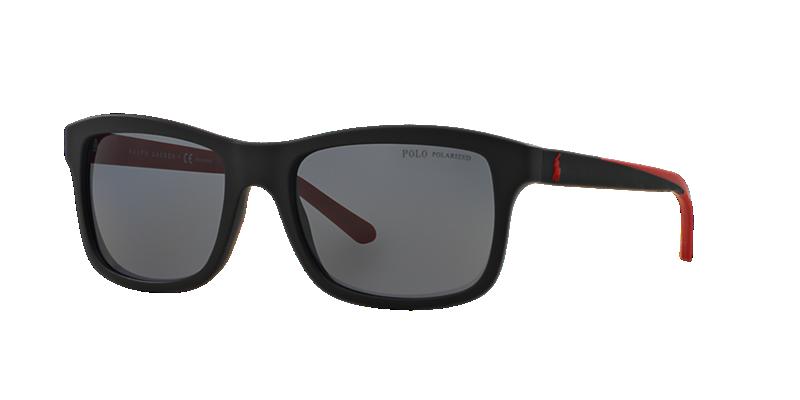 Polo Ralph Lauren Ph4095 57 Black Matte Square Sunglasses