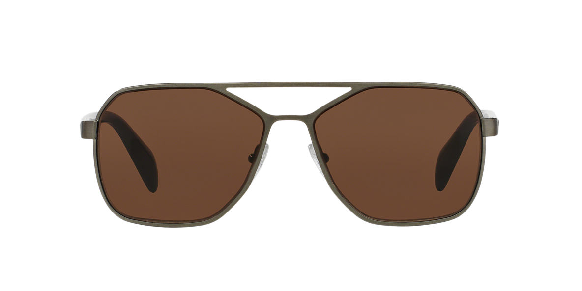 PRADA Gunmetal PR 54RS 60 TYPE Brown lenses 60mm
