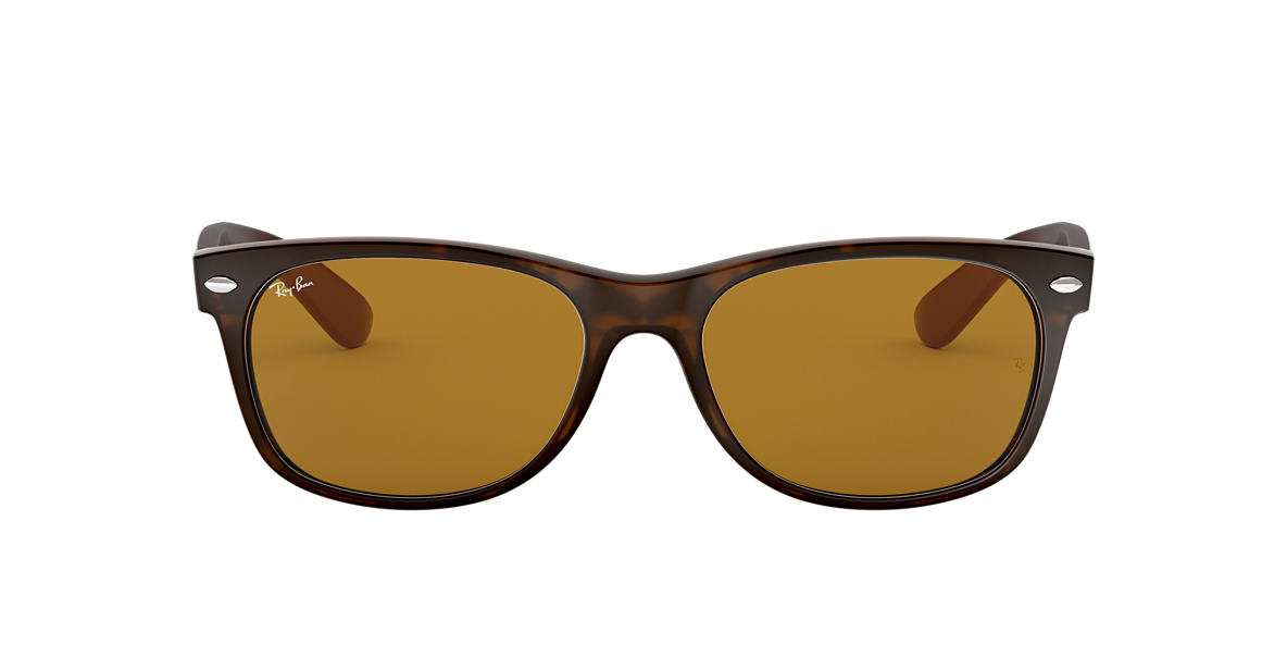 RAY-BAN Tortoise Matte RB2132 55 NEW WAYFARER Brown lenses 55mm