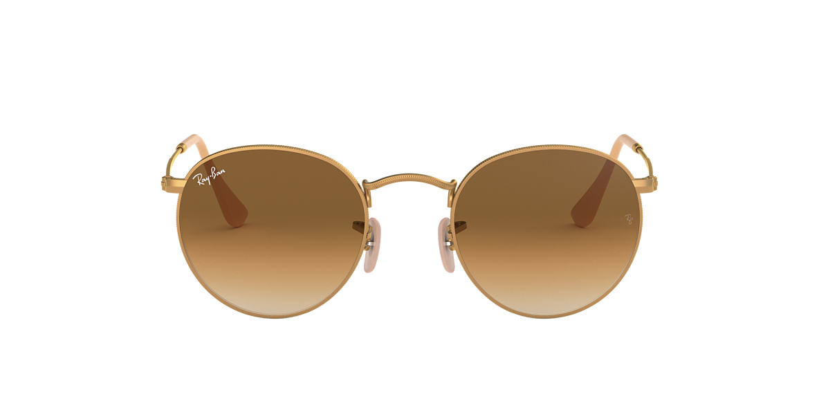 RAY-BAN Gold Matte RB3447 50 ROUND METAL Brown lenses 50mm
