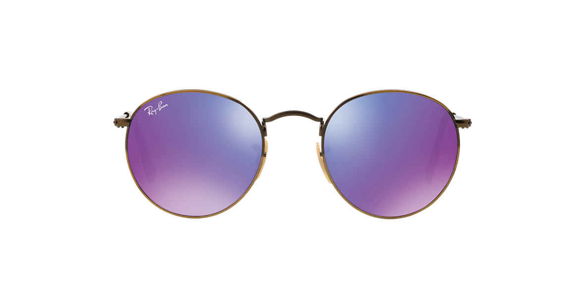 RAY-BAN Bronze RB3447 50 ROUND METAL Purple lenses 50mm