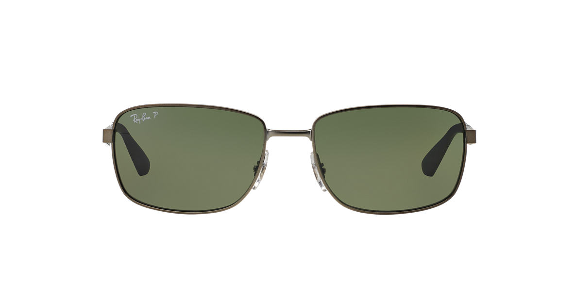 RAY-BAN Gunmetal Matte RB3529 61 Green polarized lenses 61mm