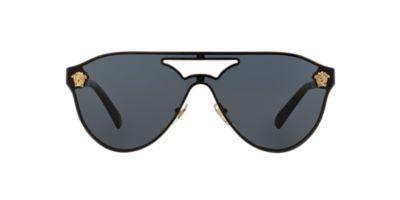 Designer Eyeglass Frames Baltimore : Versace VE2161 42 Grey & Gold Sunglasses Sunglass Hut USA