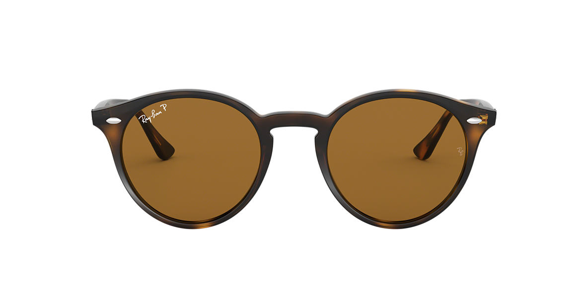 ray ban rb2180 round framed sunglasses tortoise  ray ban rb2180 round 49 brown & tortoise polarized sunglasses