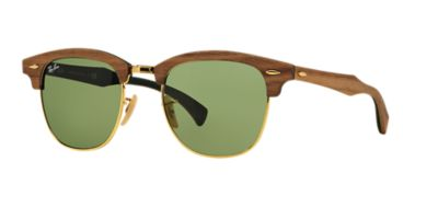 Ray-Ban RB3016M CLUBMASTER WOOD 51 Green & Brown Sunglasses