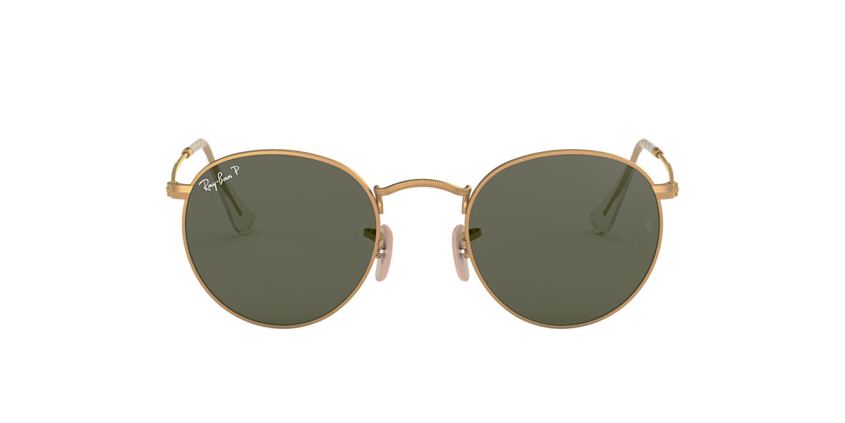 RAY-BAN Gold Matte RB3447 50 ROUND METAL Green polarized lenses 50mm