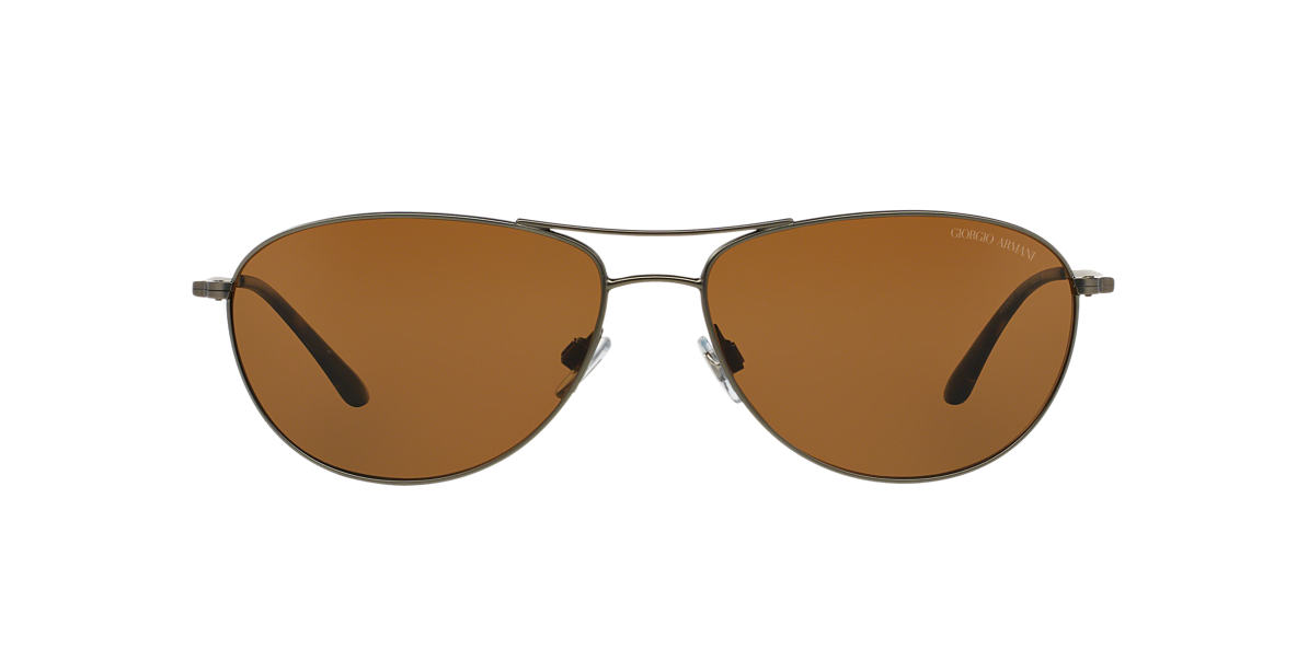 GIORGIO ARMANI Gunmetal Matte AR6024 60 Brown polarized lenses 60mm