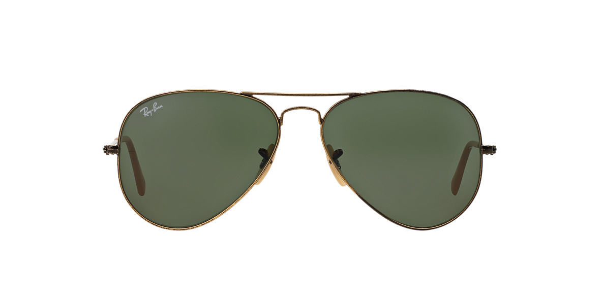 RAY-BAN Gold Matte RB3025 62 ORIGINAL AVIATOR Green lenses 62mm