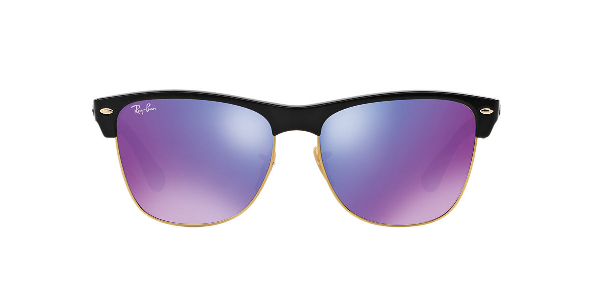 RAY-BAN Black Shiny RB4175 57 CLUBMASTER OVERSIZED Purple lenses 57mm