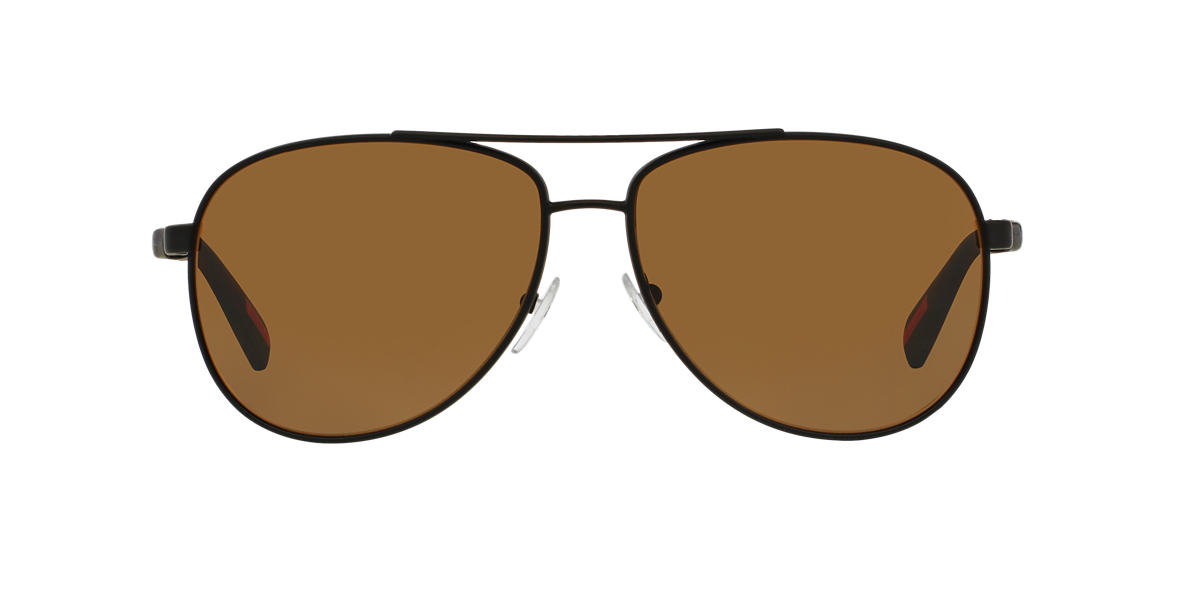 PRADA LINEA ROSSA Black Matte PS 51OS Brown polarized lenses 62mm