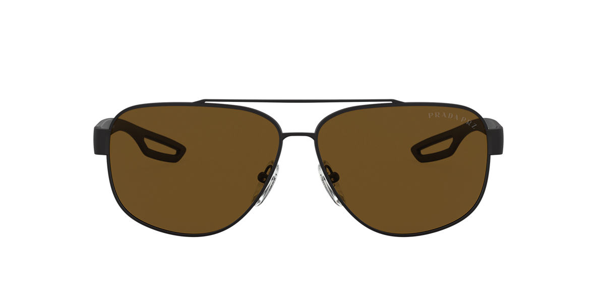 PRADA LINEA ROSSA Black Matte PS 58QS 63 Brown polarized lenses 63mm