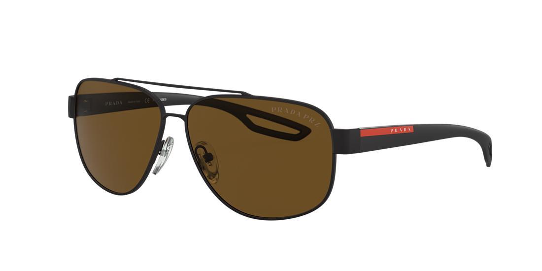 30aba5f3471e Prada Linea Rossa Black Matte Rectangle Sunglasses - ps 58qs