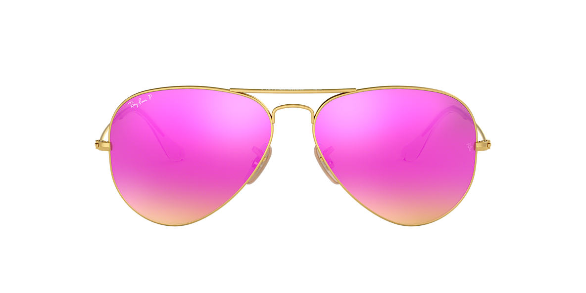 polarized mirrored aviator sunglasses 28wk  Ray-Ban RB3025 58 ORIGINAL AVIATOR 58 Pink & Gold Matte Polarized Sunglasses   Sunglass Hut USA