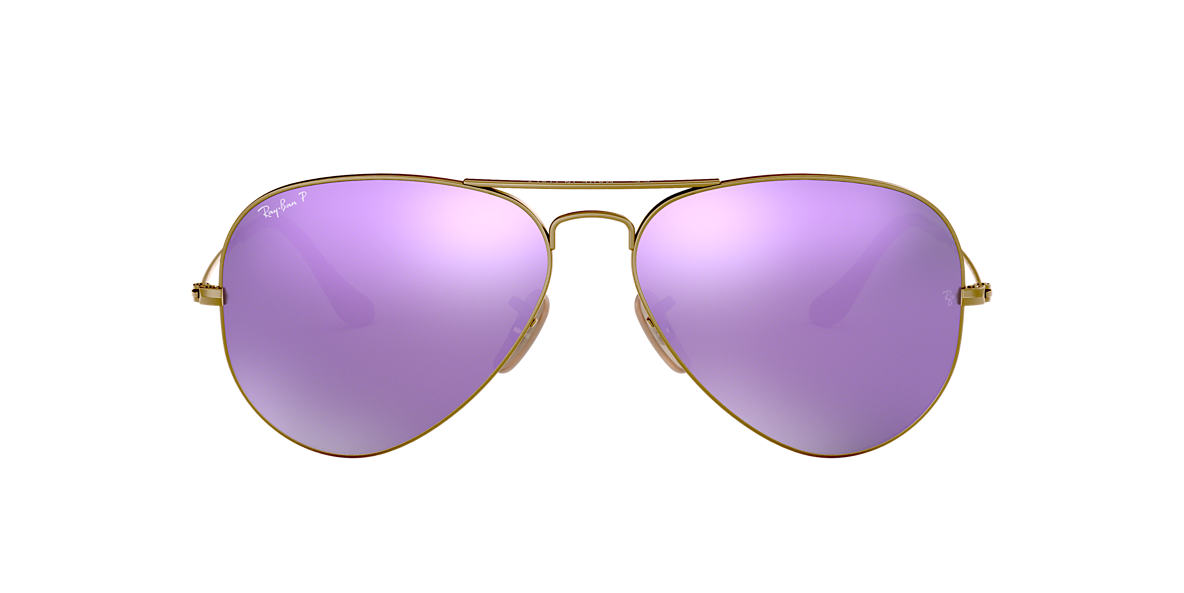 RAY-BAN Bronze RB3025 58 ORIGINAL AVIATOR Purple polarized lenses 58mm