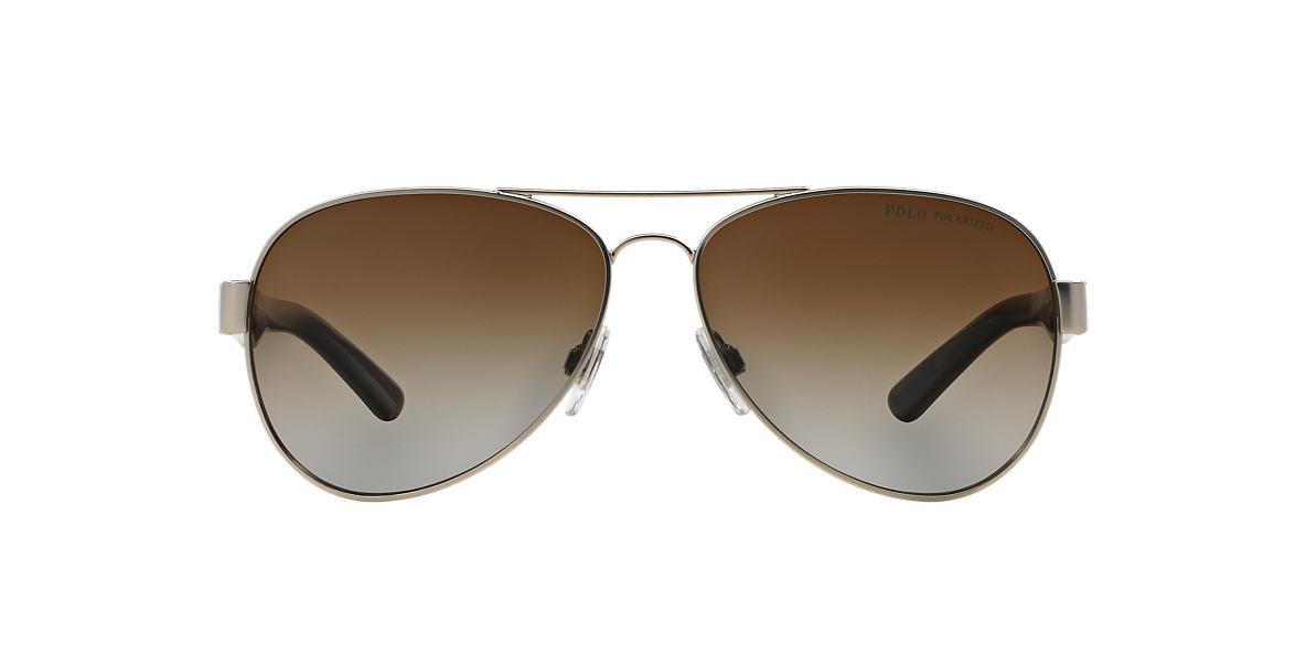 POLO RALPH LAUREN Silver Matte PH3096 59 Brown polarized lenses 59mm