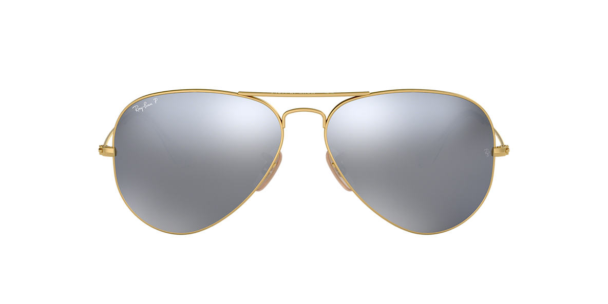 RAY-BAN Gold Matte RB3025 58 ORIGINAL AVIATOR Blue polarized lenses 58mm