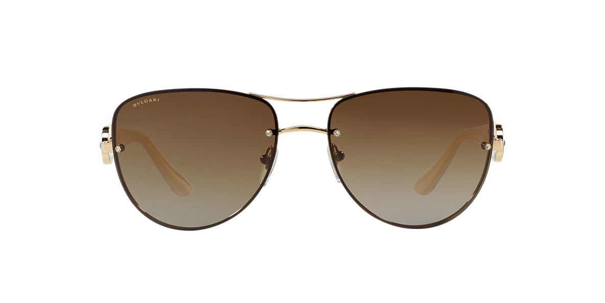 BVLGARI SUN Gold BV6053BM Brown polarized lenses 60mm
