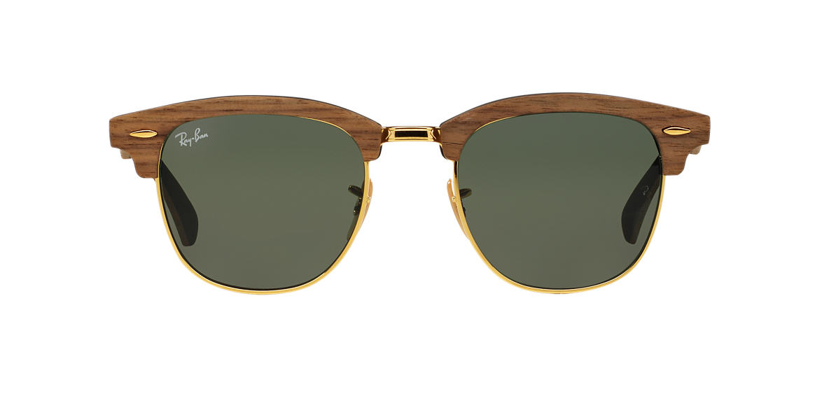 RAY-BAN Brown RB3016M 51 CLUBMASTER Green lenses 51mm