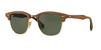 clubmaster brown  Ray-Ban RB3016M CLUBMASTER WOOD 51 Green \u0026 Brown Sunglasses ...