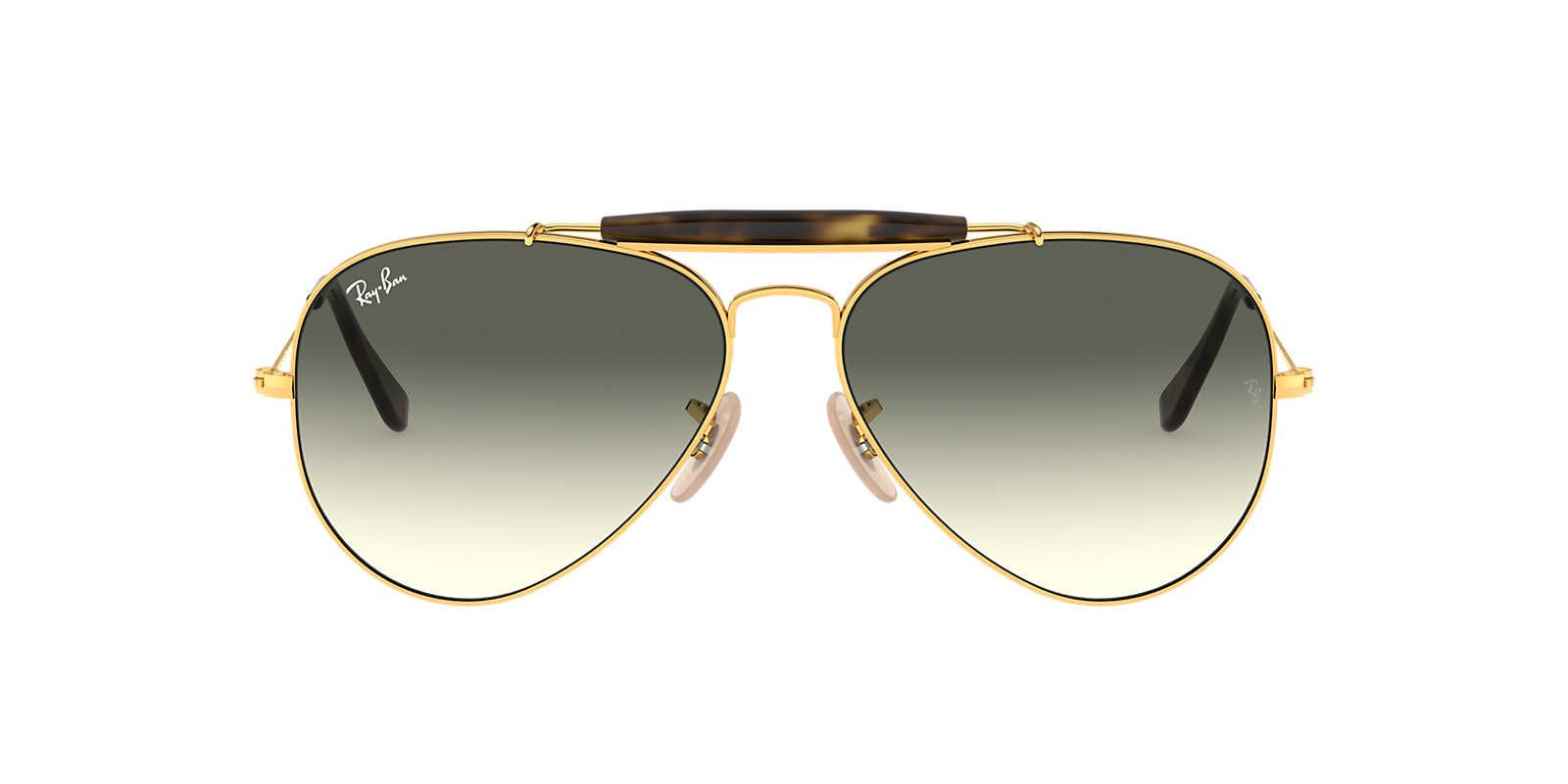 ray ban lennon  Ray-Ban RB3029 62 OUTDOORSMAN II 62 Grey \u0026 Gold Sunglasses ...
