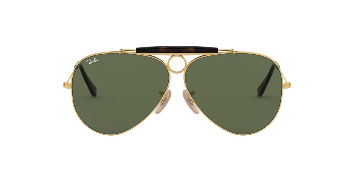 ray ban rb 3138 shooter aviator sunglasses yellow  ray ban rb3138 62 shooter 62 green & gold sunglasses